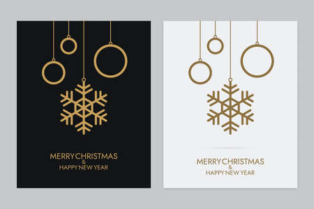 Hanging gold colored snowflakes with rings. Abstract Christmas balls on black and white backgrounds. New year greeting card design.