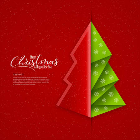 Christmas banner with abstract green tree and paper cut cover on red background. Christmas and new year greeting card design. Illustration