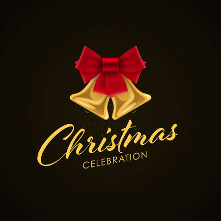 Luxury Christmas banner design. Christmas Celebration lettering with Christmas bell.
