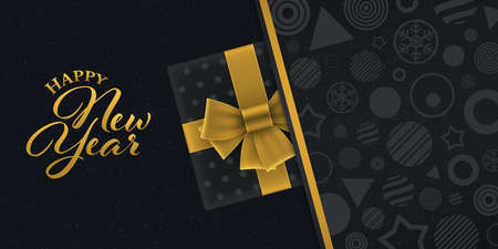 Gold colored new year greeting card with gift box on black geometric patterned background. Luxury new year banner design.