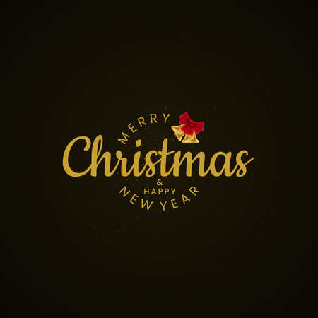 Merry Christmas and Happy New Year lettering with Christmas bell. Luxury Christmas greeting card design.
