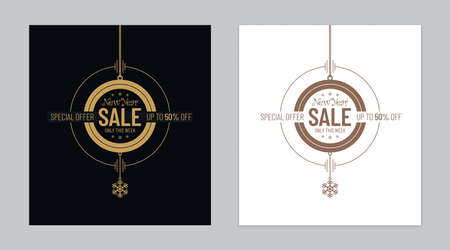 Luxury new year sale banner designs in abstract Christmas balls form on black and white backgrounds. Elegant new year sale special offer poster designs for stores.