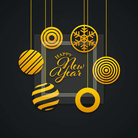New year greeting card design. Abstract Christmas balls with glass panel. Hanging gold colored balls on black background.