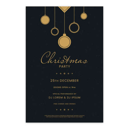 Minimal gold colored Christmas party invitation template with abstract Christmas balls on black background. Luxury Christmas party poster design.