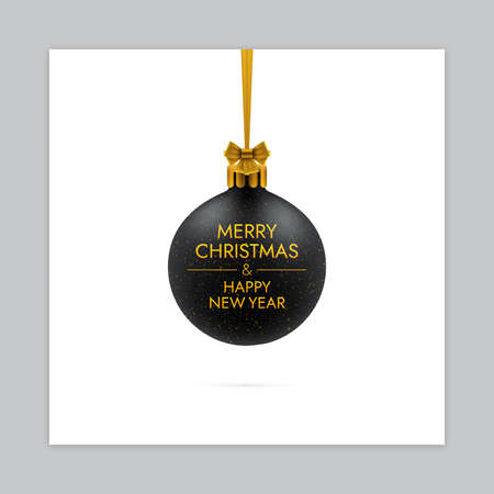 Three dimensional realistic Christmas ball with bow and ribbon. New year greeting card design.