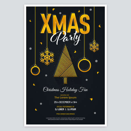 Gold colored Xmas party poster with abstract tree, Christmas balls, snowflakes and confetti on black background. Luxury Christmas party invitation design.
