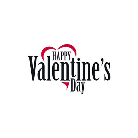 Happy Valentines Day simple template with cut heart shape. Banner design for Valentines Day.