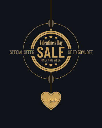 Black and gold colored Valentines Day sale invitation poster design with heart shaped pendant. Advertisement campaign flyer banner design for Valentines Day.