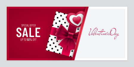 Valentines Day sale paper cut invitation banner design with inserting gift box and heart shape. Horizontal advertisement flyer billboard poster design for Valentines Day. Ilustração