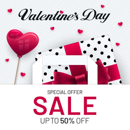 Valentines Day sale poster design with gift box and heart shape in paper bag and heart shape decorations. Red and white colored advertisement invitation banner flyer design for Valentines Day.
