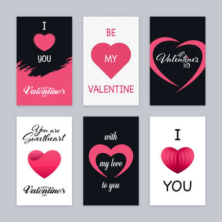 Pink, black and white greeting card set with romantic Valentines Day words. Love concept banner designs.