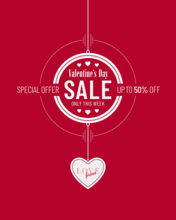Red and white colored Valentines Day sale invitation poster design with heart shaped pendant. Advertisement campaign flyer banner design for Valentines Day.