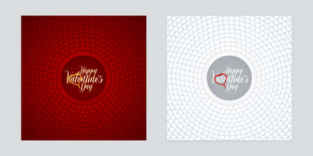 Red and white paper cut backgrounds with circular heart shapes patterns. Valentines Day card design.