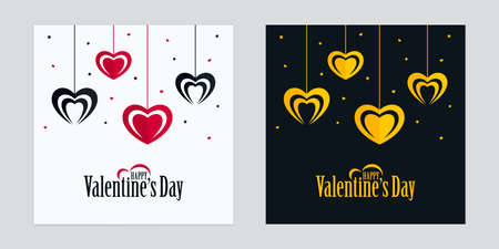 Valentines Day greeting cards with red, black and gold colored hanging heart shapes. Black and white love poster design.