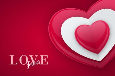 Valentines Day greeting card design. 3d shiny bead shaped heart shape on red background, love concept.