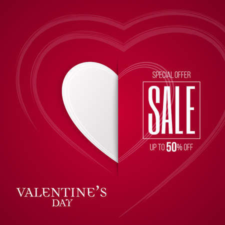 Valentines Day sale paper cut banner with white cut heart icon and sketch heart pattern. Red colored advertisement campaign invitation poster, flyer design for stores.