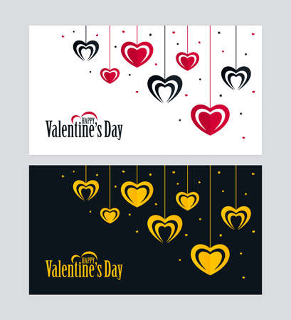 Black and white Valentines Day greeting cards with red, black and gold colored hanging heart shapes. Ornate love banner design.