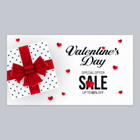 Valentines Day sale invitation banner design with gift box and heart shape decorations. Horizontal advertisement flyer poster design for Valentines Day.
