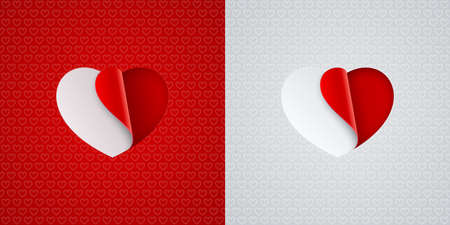 Heart shapes stickers on red and white heart shaped patterned backgrounds. Love icons, Valentines Day card design. Illustration