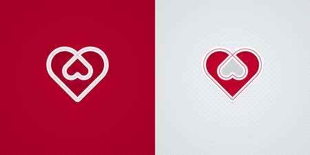 Red and white paper cut heart shapes. Valentines Day card design. Intertwined love icons.