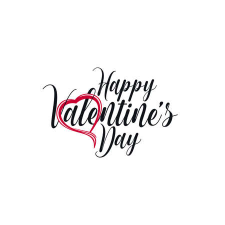 Happy Valentines Day ornate lettering with heart icon. Valentines card design. Ilustração
