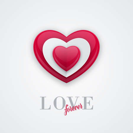 3d shiny bead shaped heart shape on red background. Valentines Day banner design, shiny love concept.