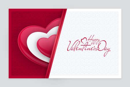 Patterned red and white greeting card with half heart shape. Paper cut Valentines Day banner design.