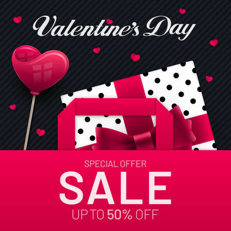Valentines Day sale poster design with gift box and heart shape in paper bag and heart shape decorations. Red and black colored advertisement invitation banner flyer design for Valentines Day.