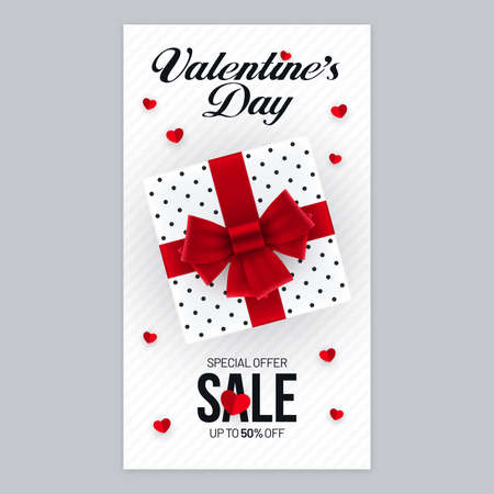 Valentines Day sale invitation poster design with gift box and heart shape decorations. Vertical advertisement flyer banner design for Valentines Day. Ilustração