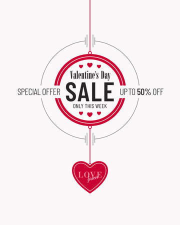 Cream and red colored Valentines Day sale invitation poster design with heart shaped pendant. Advertisement campaign flyer banner design for Valentines Day.