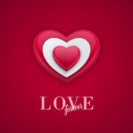 Shiny bead shaped heart shape on red background. 3d love concept, Valentines Day greeting card design. Ilustração