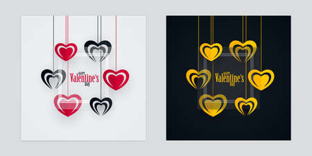 Valentines Day greeting cards with red, black and gold colored hanging heart shapes and transparent glass. Black and white love poster design.