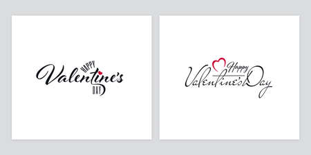 Typographic set for Valentines Day on white background. Greeting card designs with ornate Happy Valentines Day lettering. Ilustração