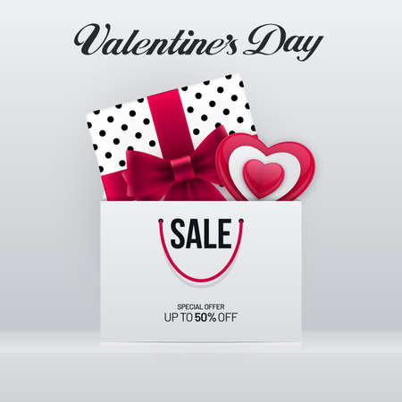 Valentines Day sale poster design with gift box and heart shape in shopping bag. Advertisement invitation banner flyer design for Valentines Day.