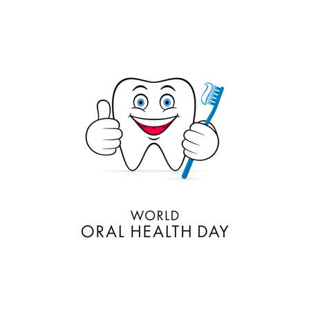 Abstract dental character making thumb up with toothbrush. World Oral Health Day greeting card design. Ilustração