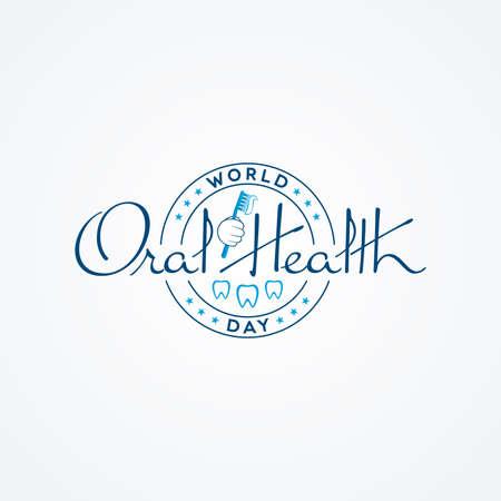 Badge shaped World Oral Health Day calligraphic lettering on white background. Dental logo design.
