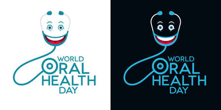 World Oral Health Day lettering with stethoscopes and emoticons. Greeting card designs. Ilustração