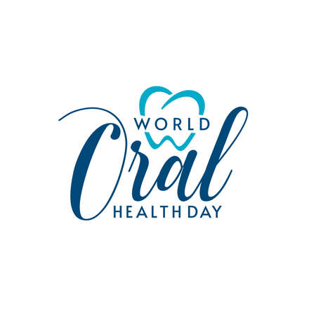 Isolated logo design with World Oral Health Day typographic lettering and heart shape. Dental logo design.