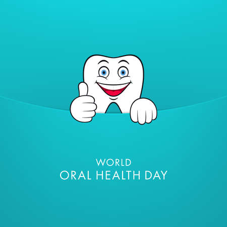 Dental character coming out of envelope and making thumb up. World Oral Health Day greeting card design.