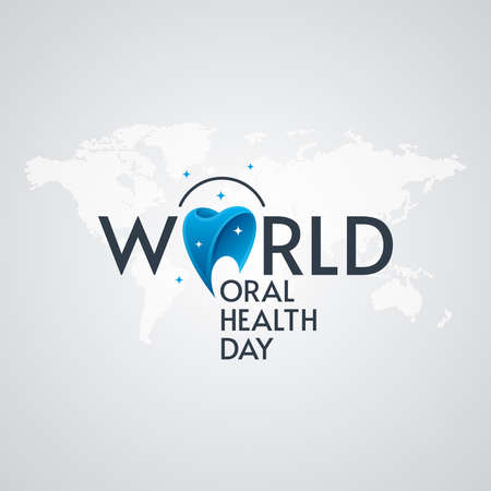 World Oral Health Day typographic lettering with world map on white background. Dental greeting card design.