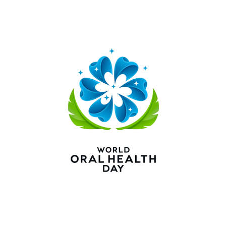 Abstract flower head shaped teeth with leaves on white background. World Oral Health Day greeting card and dental banner designs.