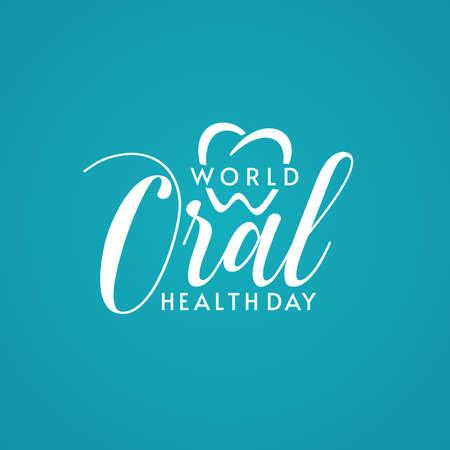 Logo design with World Oral Health Day typographic lettering and heart shape on turquoise background. Dental logo design. Ilustração