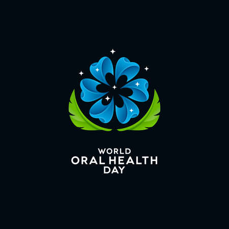Abstract teeth with flower head and leaves on black background. World Oral Health Day greeting card and dental banner designs. Ilustração