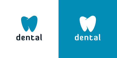 Abstract tooth icons on white and blue backgrounds. Minimal dental logo designs.