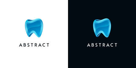 3d tooth icons on white and black backgrounds. Abstract glossy logos for dental.