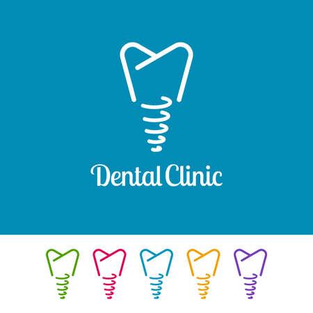 Outline implant icons on white and blue background. Minimal logo design for dental. Ilustração