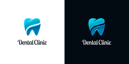 Bright tooth icons in two parts on white and black backgrounds. Abstract dentistry logo designs. Ilustração