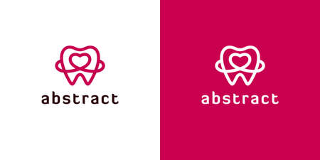 Abstract tooth icons with heart shapes on white and red backgrounds. Outline logos for dental.