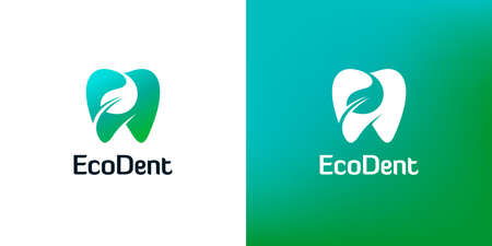 Tooth icons with leaf shapes on white and green backgrounds. Abstract dentistry logo design. Ilustração