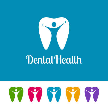 Colorful tooth icons with human figures on white and blue background. Abstract dental logos with negative space. Ilustração